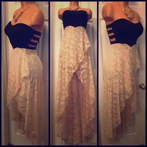 Black/Beige Sweetheart /Lace Detail high/low Dress
